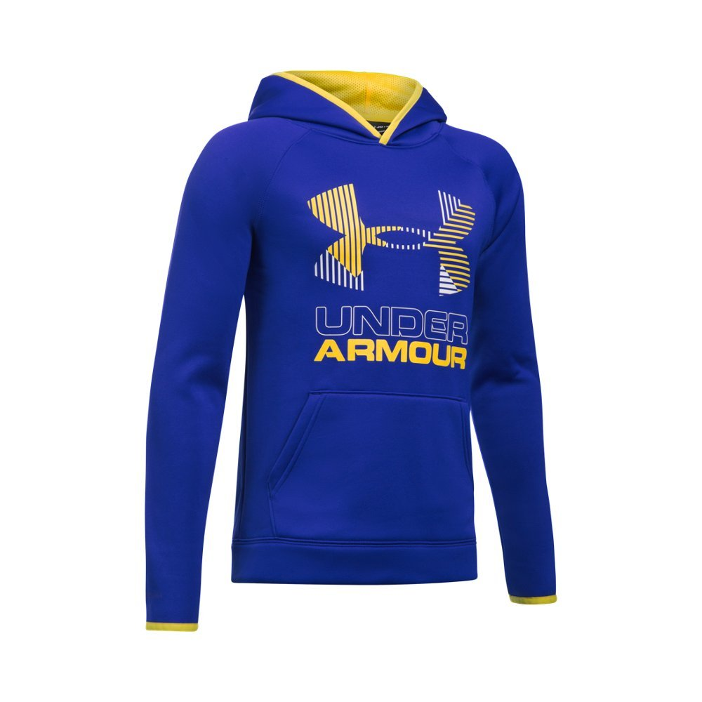Under Armour Boys' Armour Fleece Solid Big Logo Hoodie, Royal /Yellow Ray, Youth X-Small