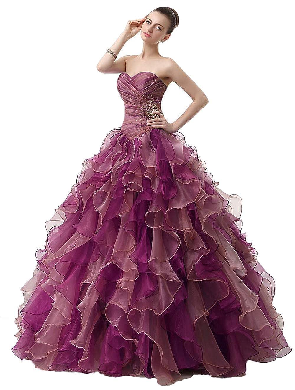 Coral Wanshaqin Women's Mermaid Beaded Sweetheart Organza Ruffled Bridal Ball Gown Wedding Dress Quinceanera Dresses