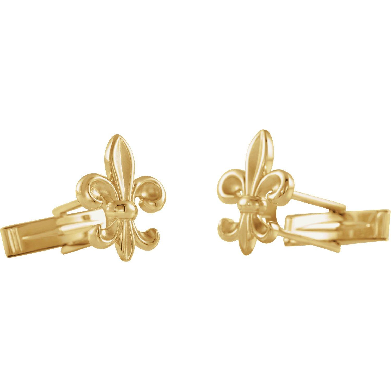 14K Yellow Gold Fluer-de-Lis Design Cuff Links for Men