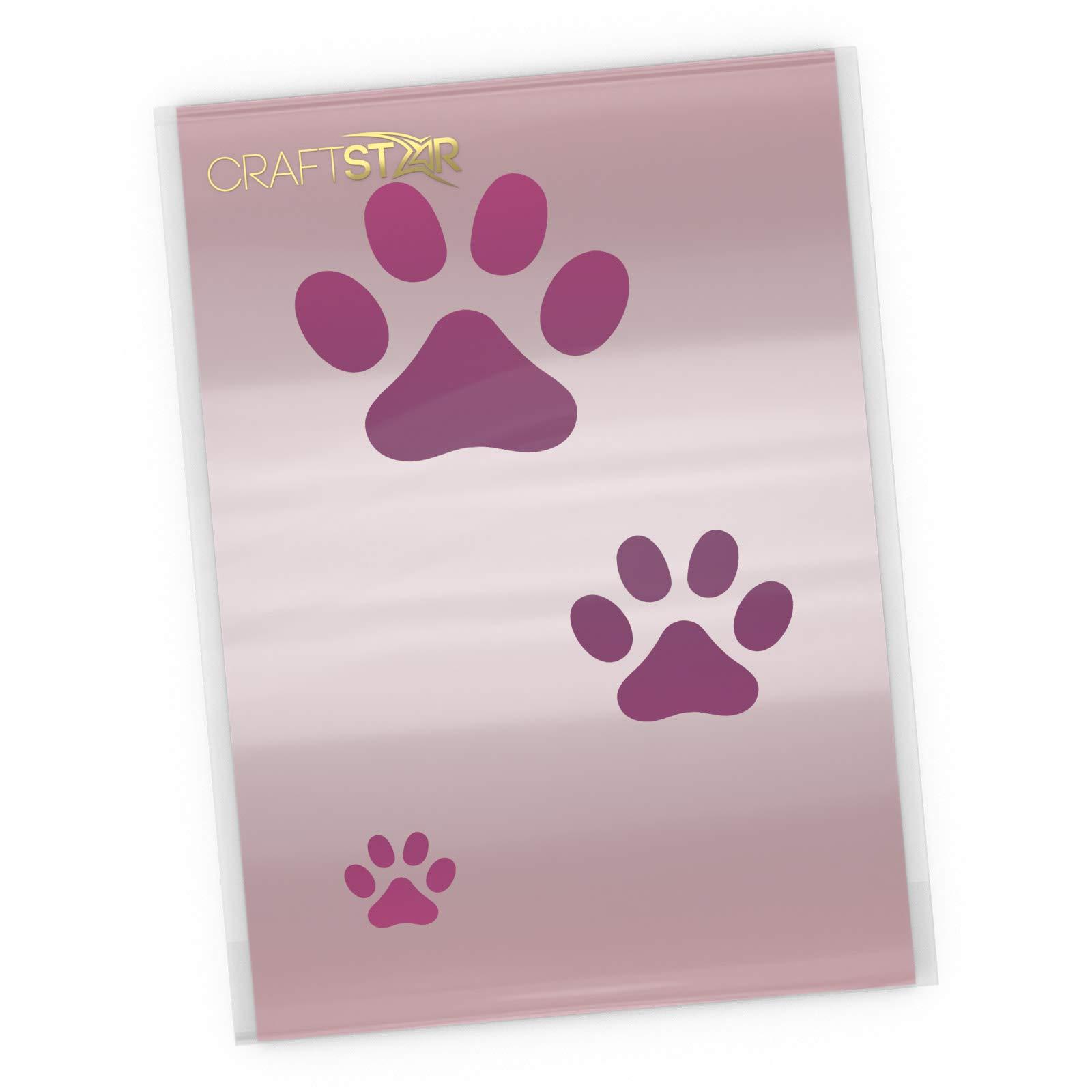 CraftStar Dog Paw Print Stencil - Set of 3 Sizes of Dog Paw Print Stencil Templates