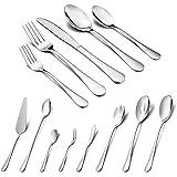 Silverware Set, HaWare 48-Piece Stainless Steel Flatware Set, Includes 40-piece Cutlery Set, 8-Piece Serving Set, Service for 8, Dishwasher Safe