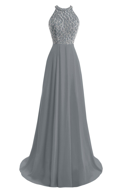 Dora Bridal Women's A-Line Floor Length Chiffon Beaded Prom Party Dress 2016 US22W Steel Grey