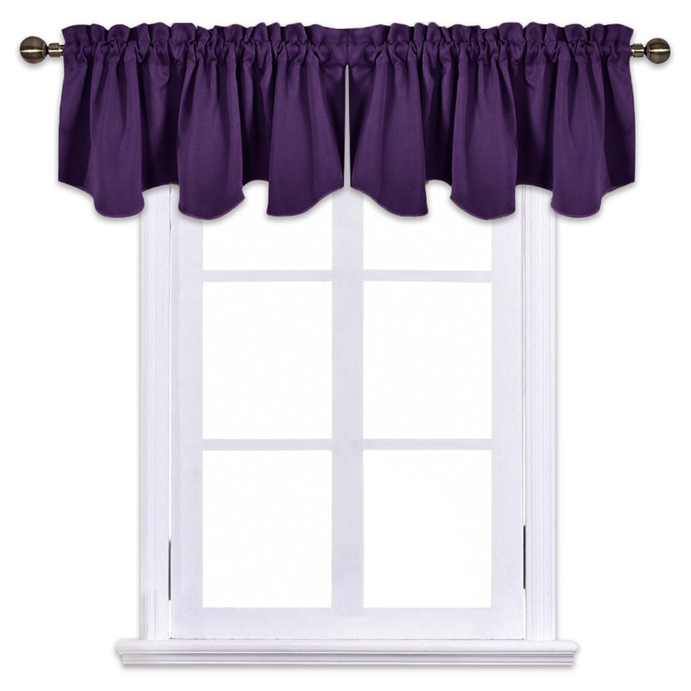 NICETOWN Blackout Window Draperies Curtains - 52-inch by 18-inch Scalloped Rod Pocket Valance Window Kitchen Curtains, Royal Purple One Pair