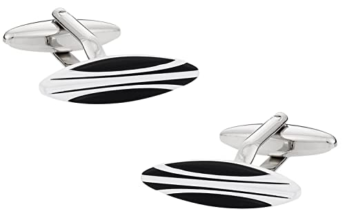 Cuff-Daddy Surfer Surfing Black White Surfboard Cufflinks with Presentation Box