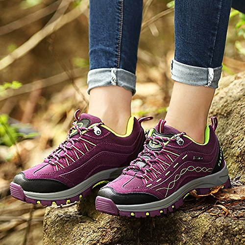 Hiking Sports Shoes Sneakers Outdoor Breathable Walking Slip Mountain Lightweight Purple MCICI Women's Mens Climbing Shoes Anti Shoes Shoes Trekking 5wYxI7BCq