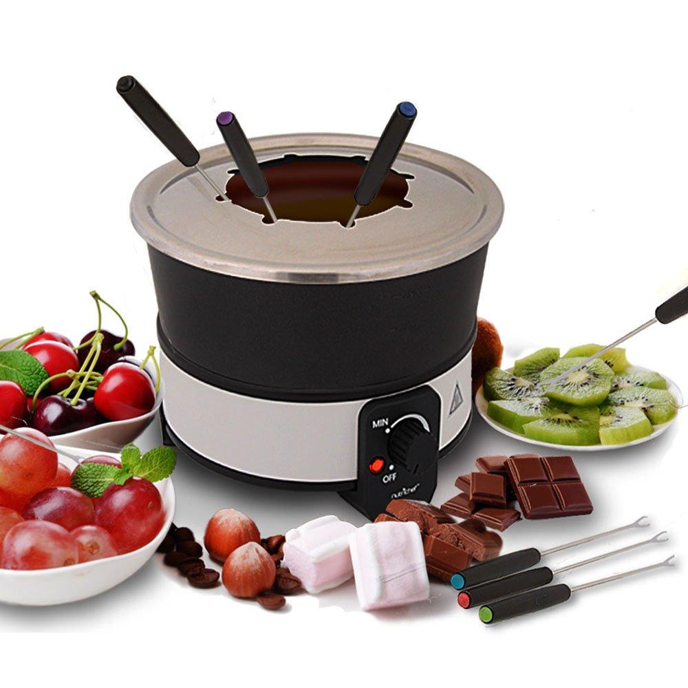 Electric Chocolate Fondue Maker Set - 1000W Warmer Machine Kit 2.1 Quart Nonstick Teflon Melting Pot w/LED Light, 8 Dipping Forks, Melts Cheese Chocolate Candy Sauce Dip - NutriChef PKFNMK26 Sound Around