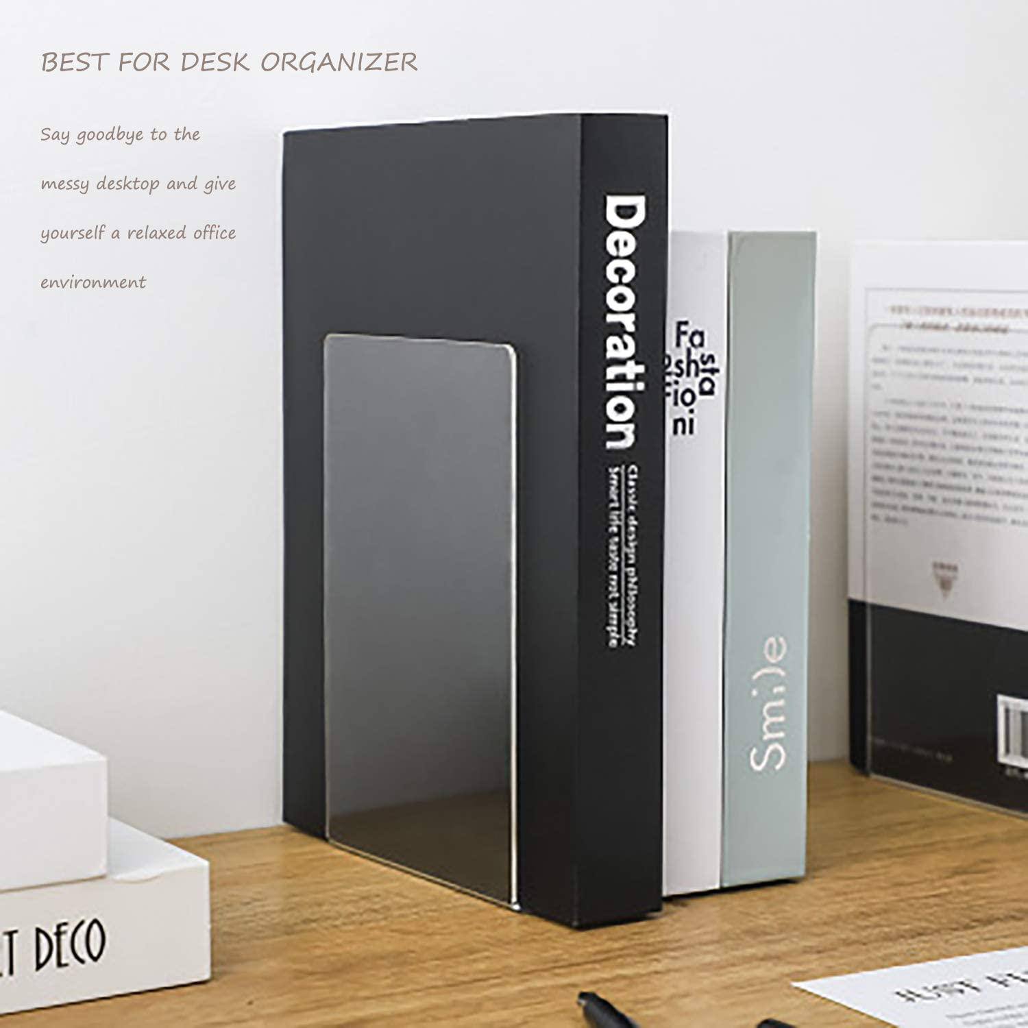 TooWood New Stylish Sturdy and Durable Acrylic Transparent Bookends 2PCS of Bookends with 8PCS Non-Slip Mats; Best for Desk Organizer.