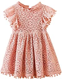 Girl Baby Girl Vintage Lace Pom Pom Trim Birthday Party Dress