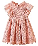 2Bunnies Girl Baby Girl Vintage Lace Pom Pom Trim Birthday Party Dress (Dusty Pink, 2T)