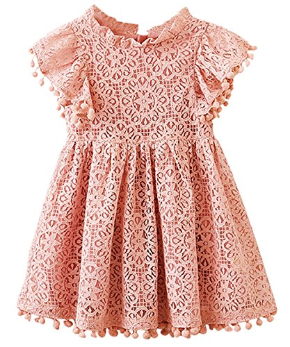 2Bunnies Girl Vintage Lace Pom Pom Trim Birthday Party Dress (Dusty Pink, 6)