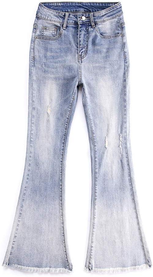 Pantalones Ropa Mezclilla Campana Cintura Alta Era Delgada Mallas ...