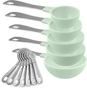 Cook with Color 12 Piece Plastic Measuring Cups Set and Measuring Spoon Set with Stainless Steel Handles, Nesting Kitchen Measuring Set Liquid and Dry Measuring Cup Set (Gray Spoons/Mint Green Cups)