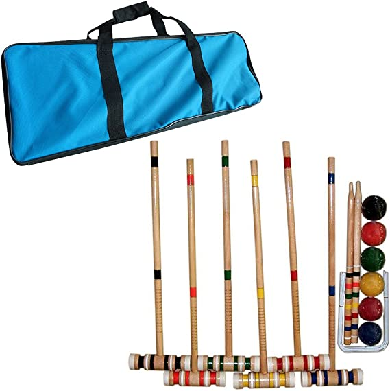 Amazon.com : Croquet Set- Wooden Outdoor Deluxe Sports Set with Carrying Case- Fun Vintage Backyard Lawn Recreation Game, Kids or Adults by Hey! Play! (6 Players) : Sports & Outdoors
