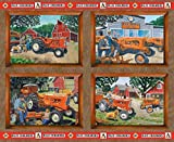 Allis Chalmers Tractor Fabric, Pillow Panel, Brown