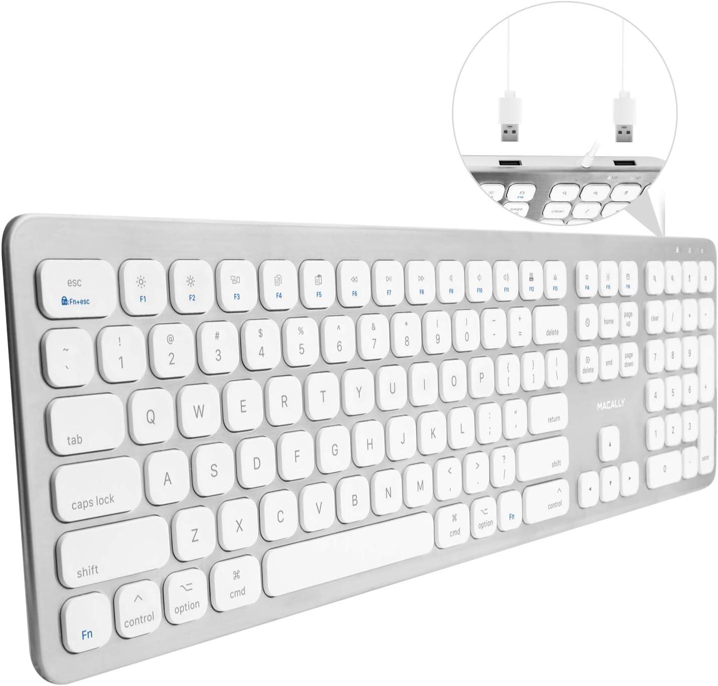 Macally WKEYHUBMB-A, teclado extendido para Mac con teclado numérico, 2 puertos USB y layout americano QWERTY, USB-A, diseño de aluminio