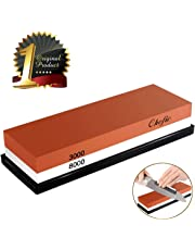 BearMoo Whetstone 2-in-1 Sharpening Stone 3000/8000 Grit Waterstone, Knife Sharpener Rubber Stone Holder Included