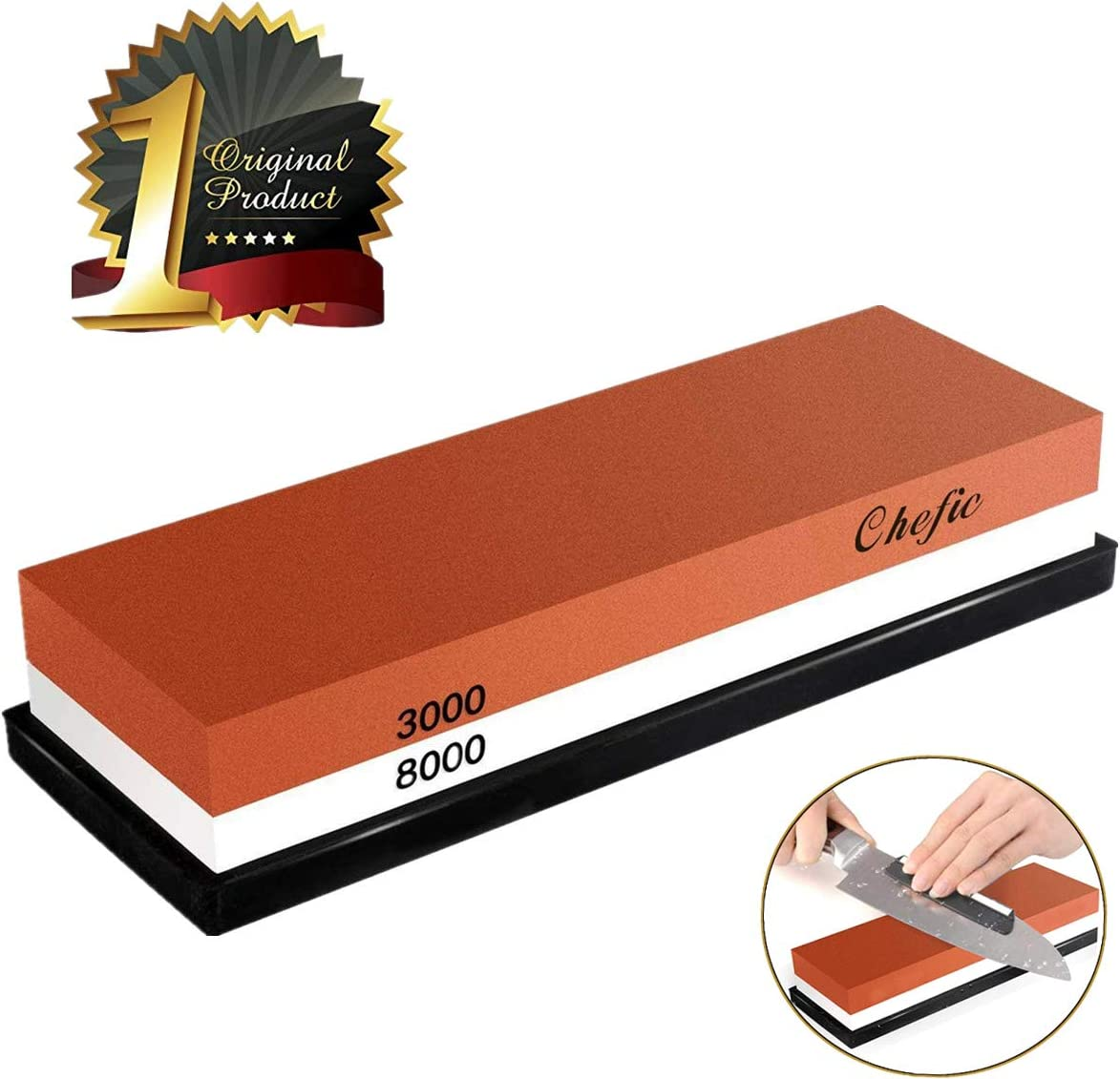 BearMoo Whetstone Premium 2-IN-1 Sharpening Stone 3000/8000 Grit Waterstone Kit - Knife Sharpener Stone Safe Honing Holder Silicone Base Included, Polishing...