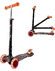WeSkate Kinder Scooter Kinderroller höhenverstellbarer und Abnehmbarer Lenker Tret-Roller mit 4-PU blinkenden LED Rollen Graffiti Scooter Kinder ab 3 Jahren