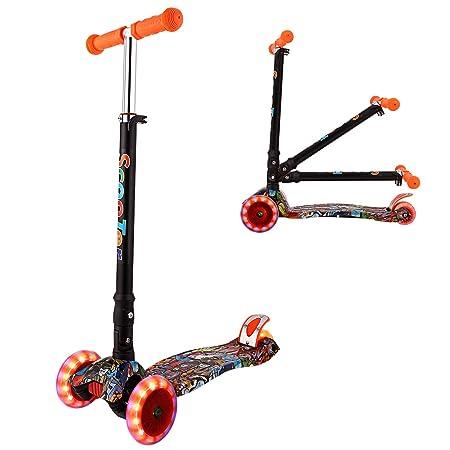 WeSkate Kinderroller Mädchen Kick Roller Kinder- 3 Rad Kinderscooter Kleinkind mit Graffiti Deck Einstellbar Mini Roller Drei
