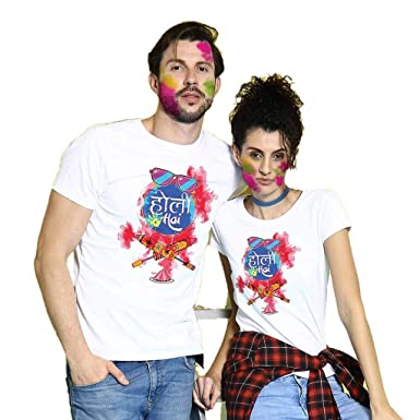 683e261e72 Bon Organik Holi Hai Couple Tees for Couple Printed Cotton Valentines Day T-Shirts  for