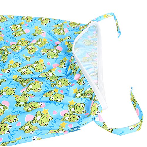 Teamoy Reusable Pail Liner for Cloth Diaper/Dirty Diapers Wet Bag, Frogs