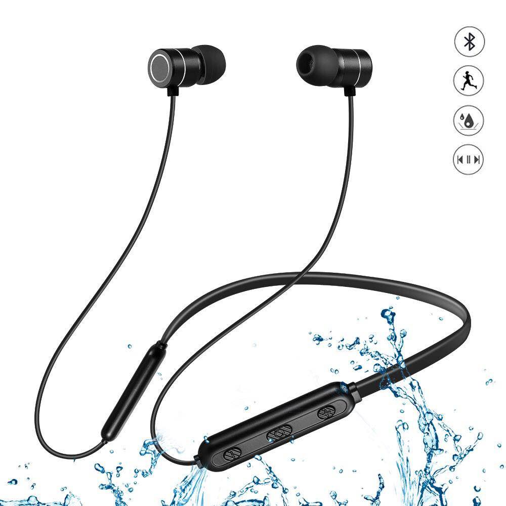 CRJUS Magnetic Waterproof Bluetooth Earbuds,Bluetooth Headphones with Mic Stereo Bass, Super Sound Quality Noise Cancelling in-Ear Sports Headphones (Black) by CRJUS
