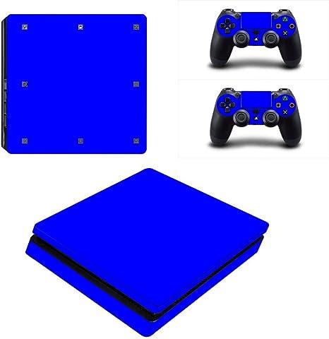Dotbuy PS4 - Pegatina protectora para Sony Playstation 4 Slim Consola y 2 mandos DualShock azul All Blue: Amazon.es: Informática