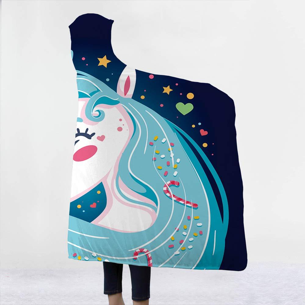 plaid pour enfants adultes motif licorne couverture douce Couverture de campagne naturel avec capuche 130x150cm Muster1 super douce rose