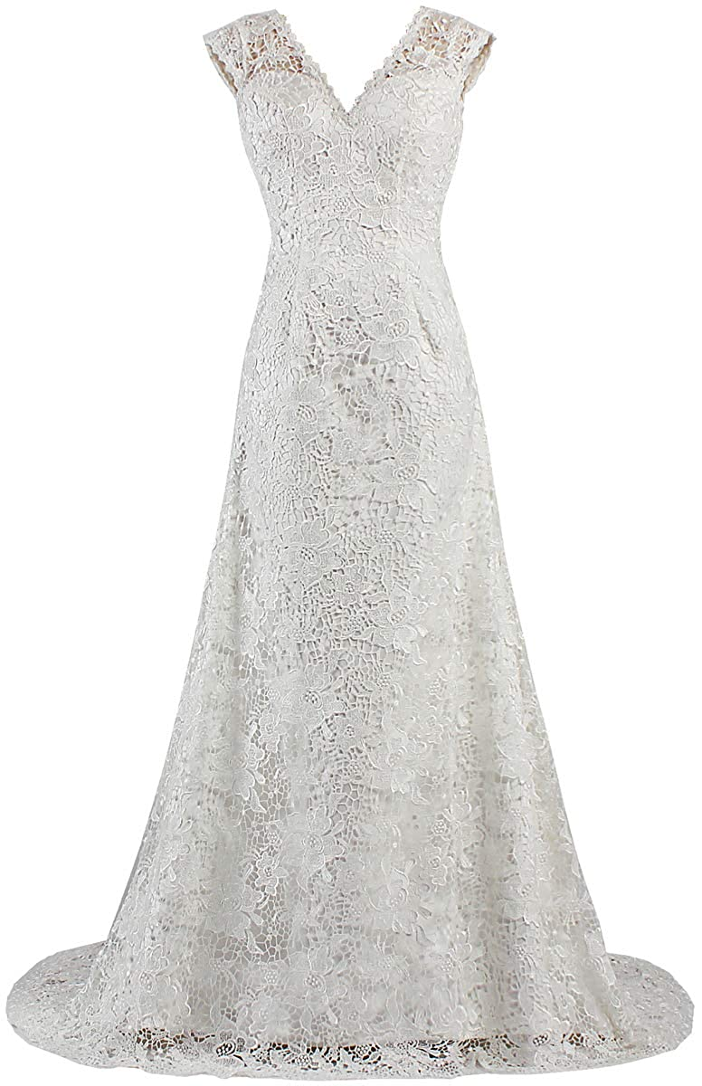 White ANTS Women's V Neck Tank Lace Wedding Dress for Bride