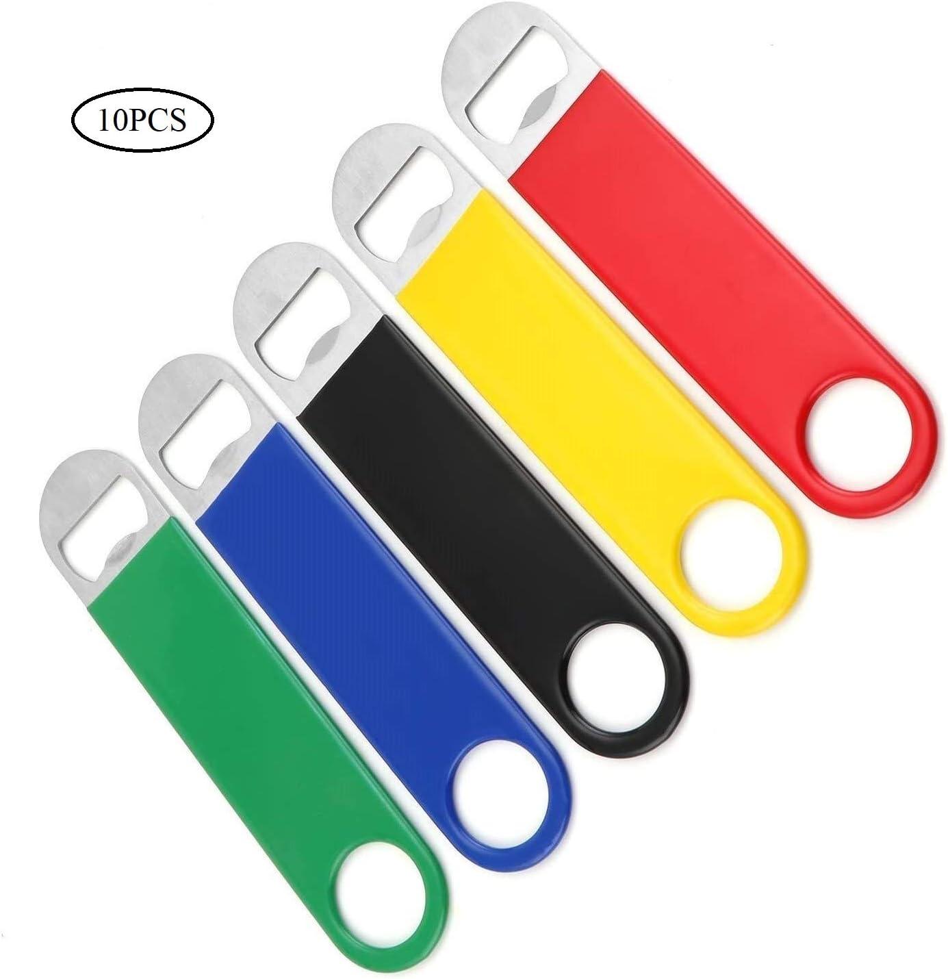 Coolty 10pcs Abrebotellas, Heavy Duty Abridor de Botellas de Cerveza de Acero Inoxidable para Familia Cocina KTV Bar (Rojo+Amarillo+Negro+Azul+Verde)