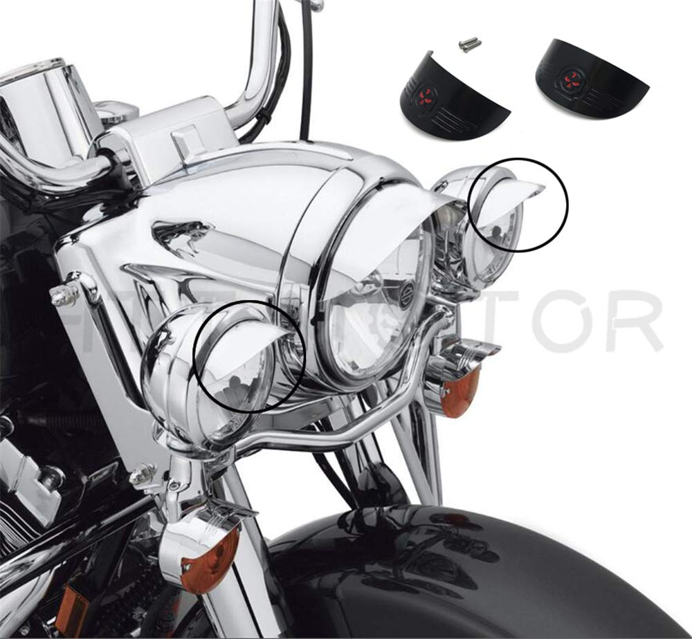 HTT Chrome 7 Headlamp//Headlight Visor For 1984-2016 Harley 7 Headlamp Softail Slim//Street Glide//Road King Aftermarket product Replace #69793-07