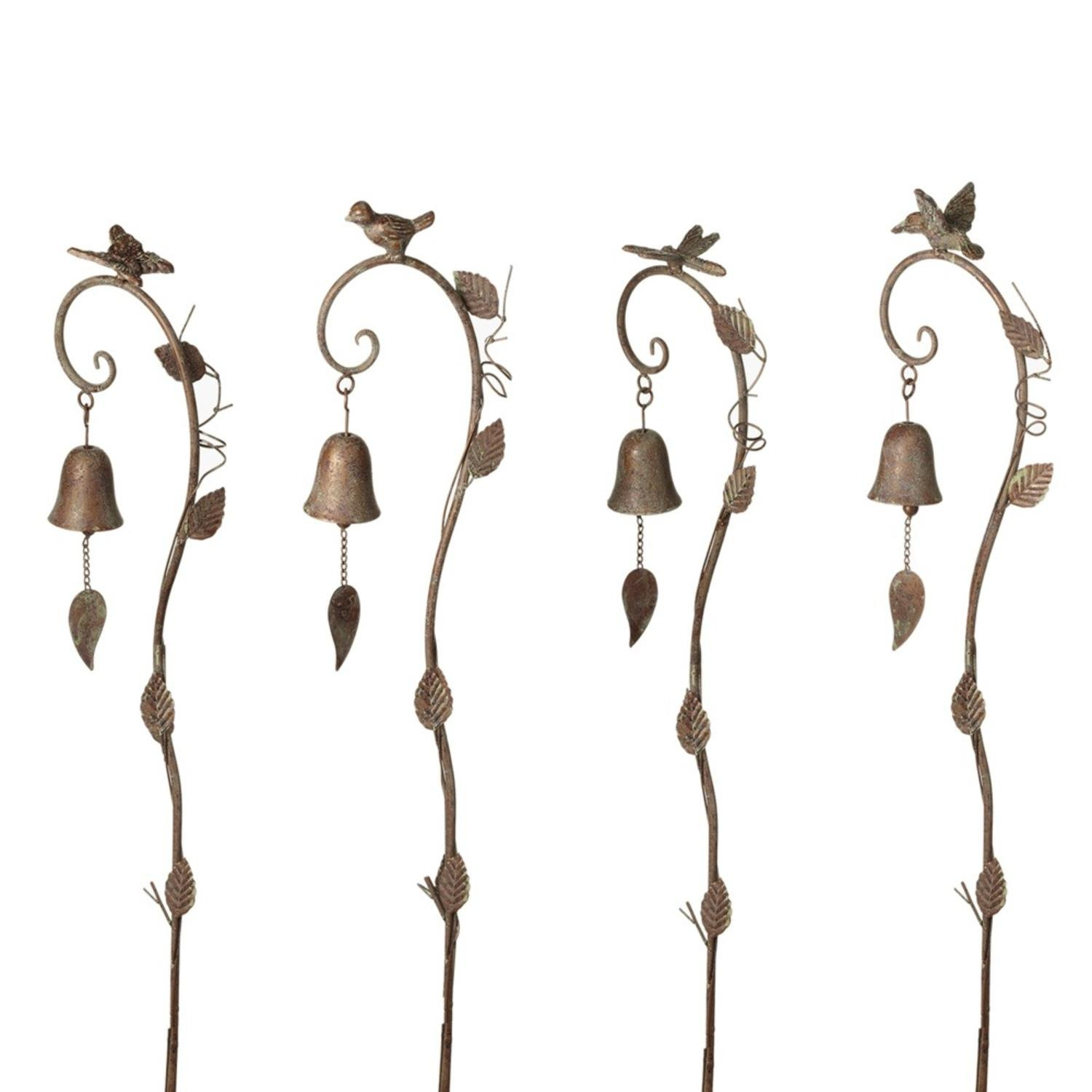 Diva At Home Set of 4 Gold Patina Curved Hook Birds Designed Garden Stake with Bell 48''