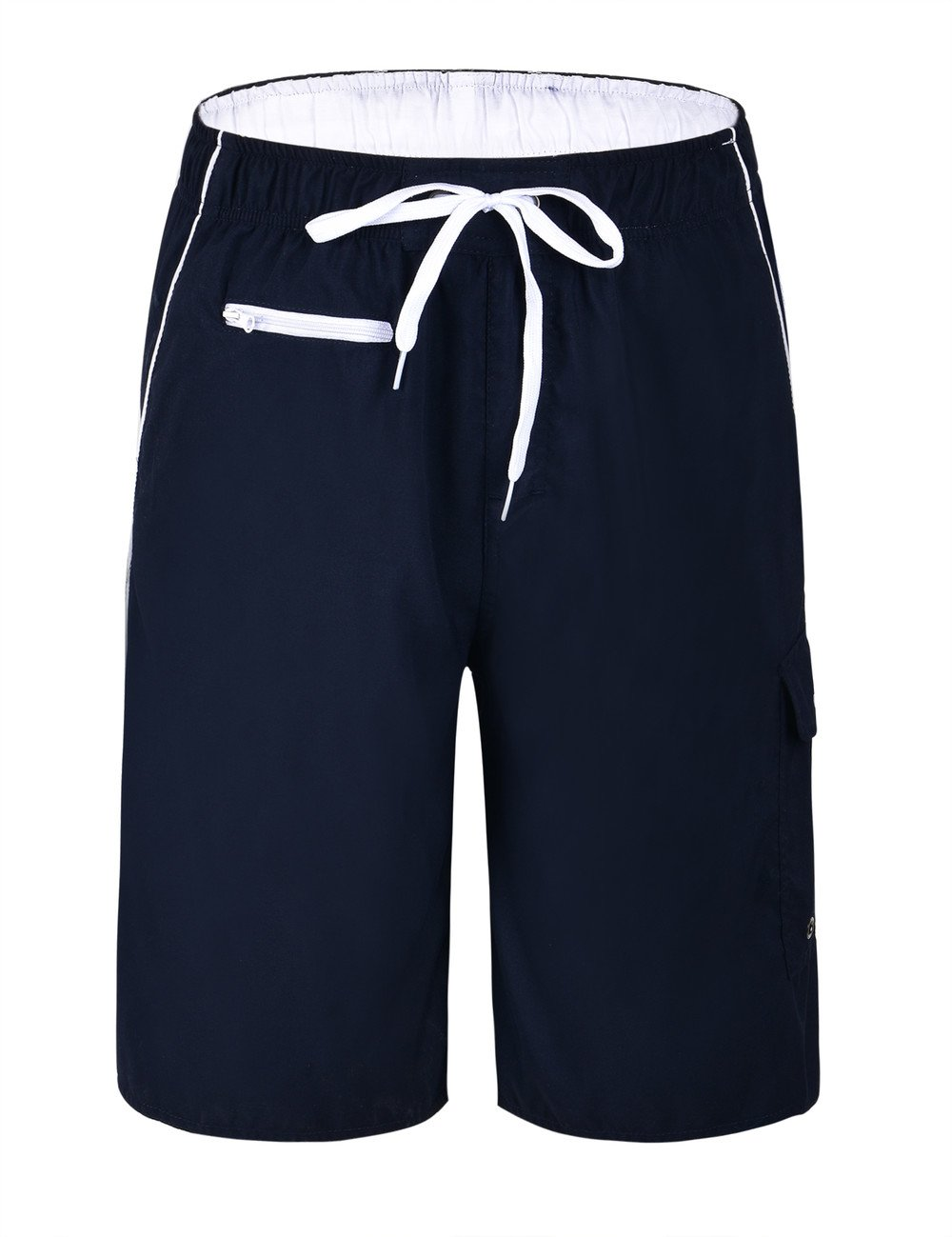 Unitop Men's Swim Trunks Quick Dry Hawaiian Assorted Surf Shorts Navy&White 38 by Unitop