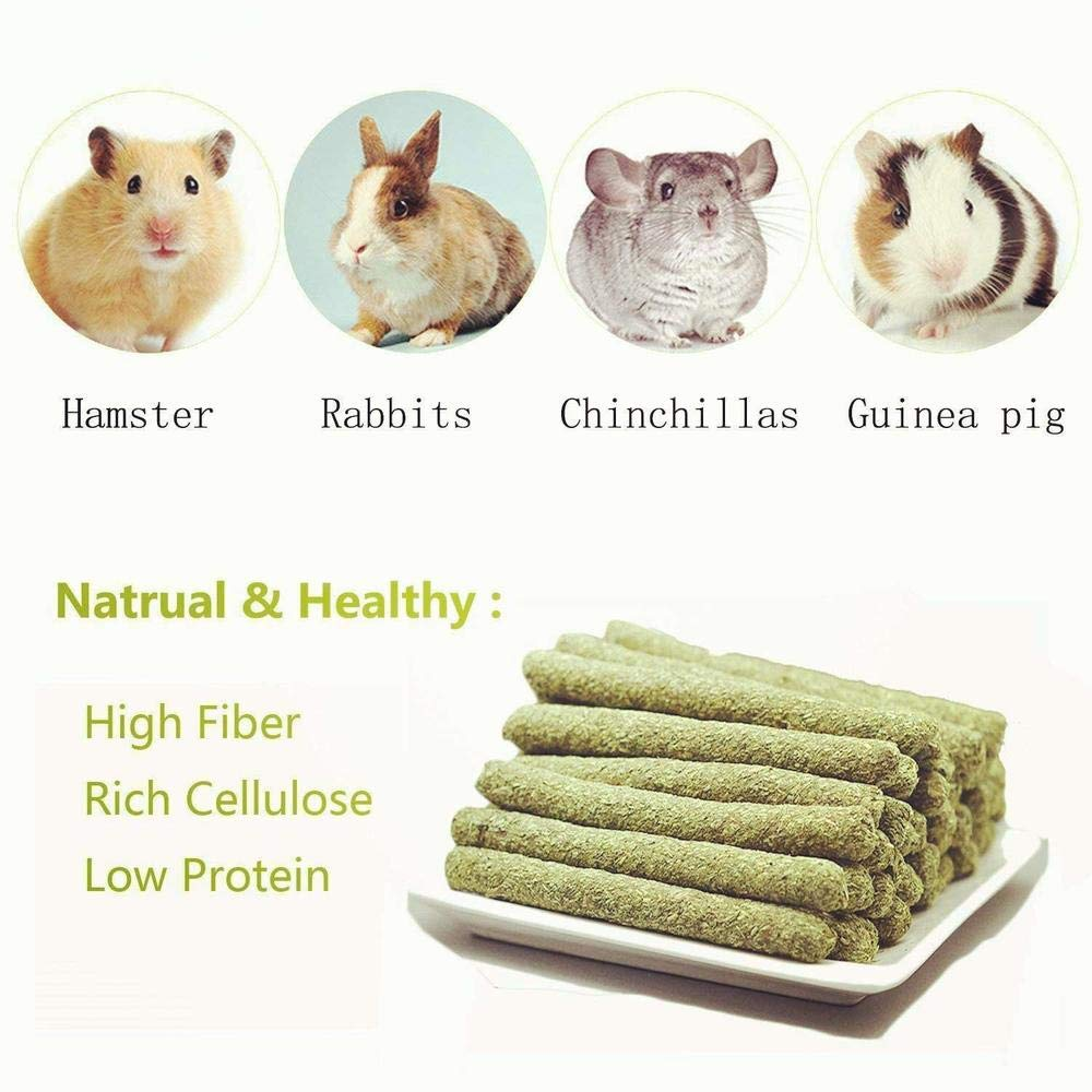 25 Pieces Natural Timothy Grass Small Pets Hay Chew Sticks Toy for Rabbits Guinea Pigs Chinchillas Hamsters