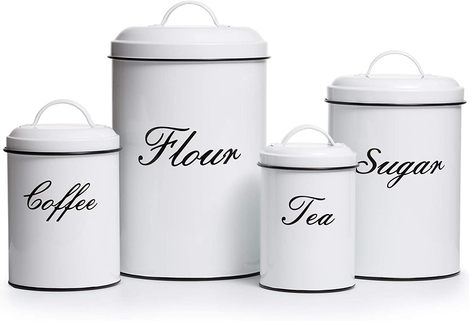 Deppon Vintage Farmhouse Canister Set, 4-Piece Stainless Steel Food Storage Container, White