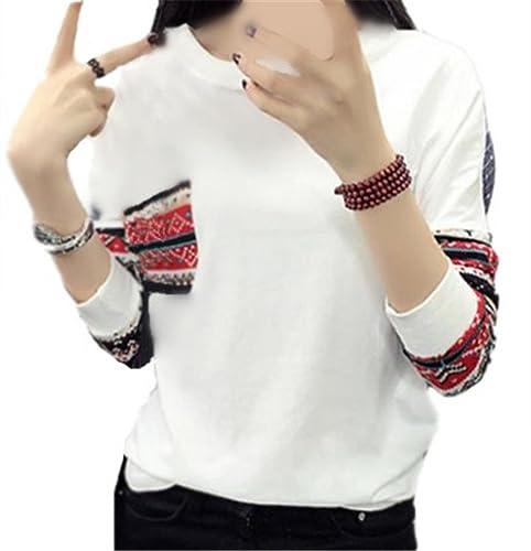 Kerlana Tops Mujer Camisetas Otoño Vintage Manga Larga Elegante Fitness Tops Rayas Impresa Blusas Bolsillo