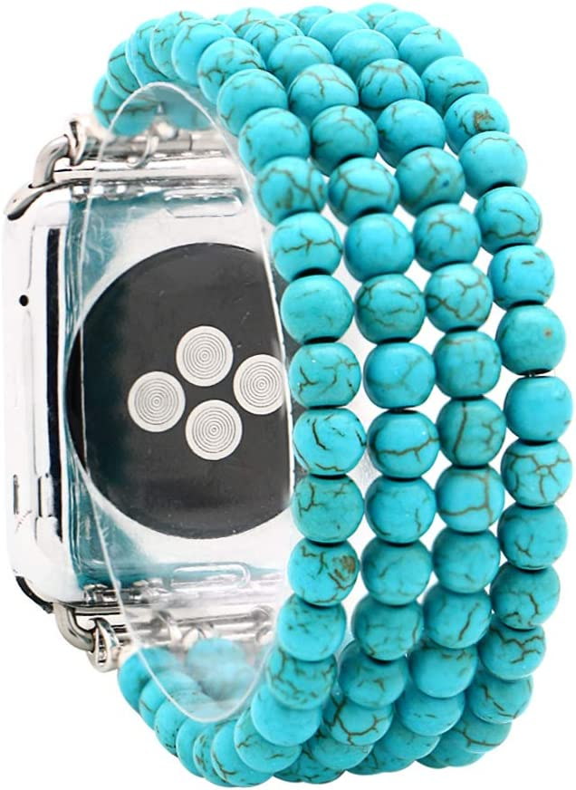 KAI Top Compatible for Apple Watch Band 38mm 40mm 42mm 44mm,Created-Turquoise Beaded Elastic Stretch Replacement Bands Compatible with 2019 Apple Watch Series 5,iWatch 4/3/2/1,Sport,Nike+,Edition