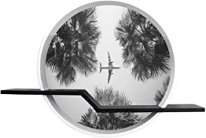 24'' Airplane Flight Tropical Vacations Round Wall Floating Shelves Canvas Print Wall Art Decor for Bedroom, Living Room, Cafe, Office, Ready to Hang