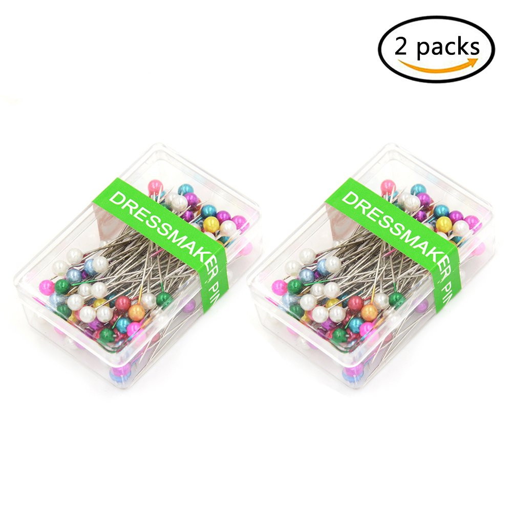 200pcs Pearl Head Pins Dressmaking Straight Pins with Round Pearl Head for DIY Decoration Sewing,Mixed Colors (2 Pack) amazing-trading
