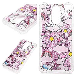 LG Stylo 4 Case, LG Q Stylus Case, Flowing Liquid 3D Print Glitter Soft TPU Silicone Quicksand Case Floating Moving Bling Hearts Sparkly Clear Shockproof Gel Protective Cover Skin
