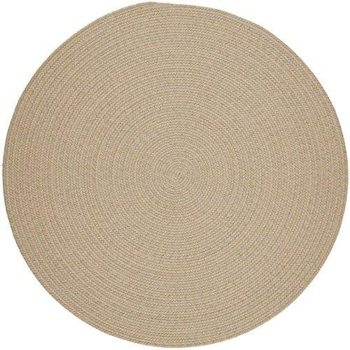 Solid Round Wool Rug, 6-Feet, Sand