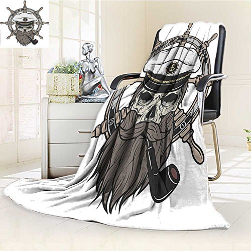 Throw Blanket Captain Pirate Skull in Sailor Hat with Beard and Pipe Theme Print Warm Microfiber All Season Blanket for Bed or Couch
