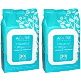Acure Organics Coconut and Argan Oil Cleansing Towelettes for Face and Body, All Natural and Biodegradable, 30 Count (Pack of 2)