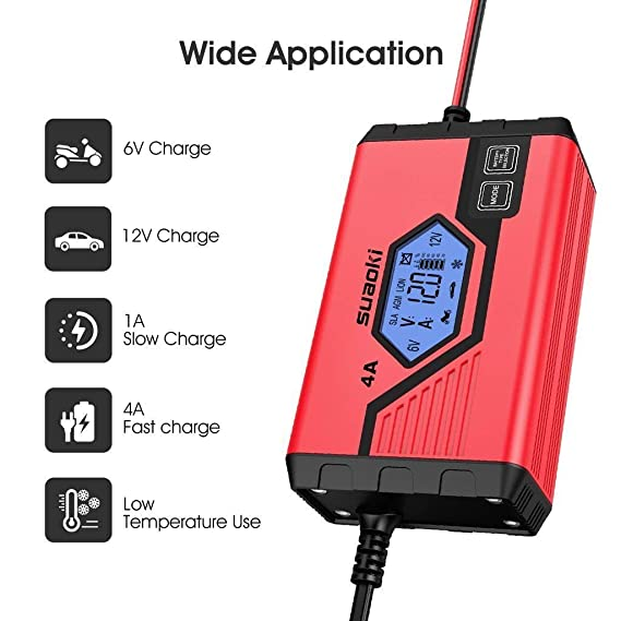 SUAOKI - Cargador de Baterias Coche, Moto, 4A, 6/12V, Mantenimiento Automático e Inteligente, 8 Cargas Etapas Identificación, Carga Segmentada con ...