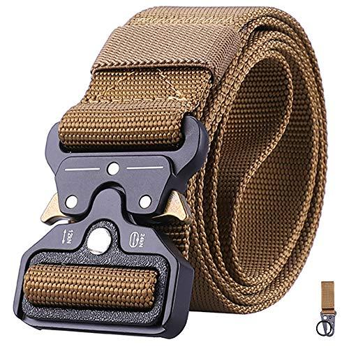 Tanpie Men's Tactical Belt Nylon Military Webbing Heavy Duty Outdoor Waistband with Metal Buckle Khaki