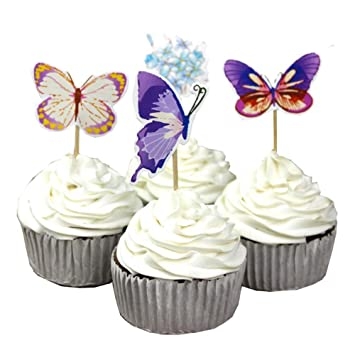 Image Unavailable Not Available For Color Garden Butterfly Flowers Cupcake Toppers Picks Girls Assorted Celebration Birthday Cake Decorations