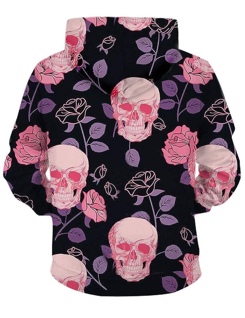 TeapO Womens Long Sleeve Skinny Hooded Sweatshirts Halloween Hoodie Skull Print Pullover Hoodie