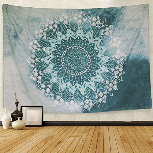 Indian Mandala Tapestry Wall Hanging Floral Pattern Bohemian Hippie Flower Psychedelic Tapestry Ethnic Decorative Fabric Tapestry for Dorm Home Decor Beach Cover (M/51.2
