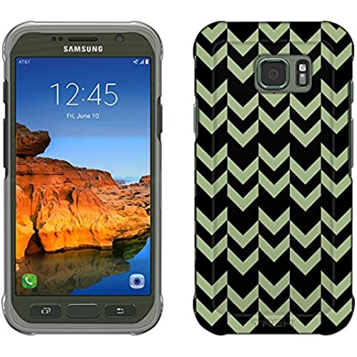 Samsung Galaxy S7 Active Case, Snap On Cover by Trek Chevron Double Green Black Slim Case Sales