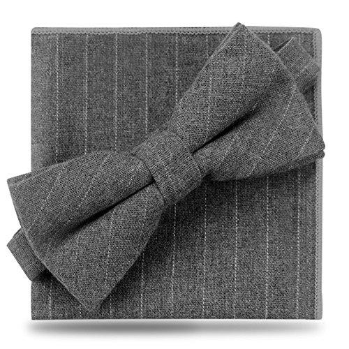 (Bow Ties Set Pre-Tied Bowtie Set Unisex Cotton Bow Ties Pocket Square Set (Grey) )